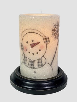 C R Designs Frosty Snowman Black Buffalo Check Candle Sleeve - Gumdrop