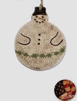 Smith Redware Smith Redware - Snowman with Holly Garland Ornament