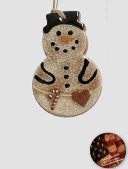 Smith Redware Smith Redware - Snowman with Candy Cane Belt Ornament
