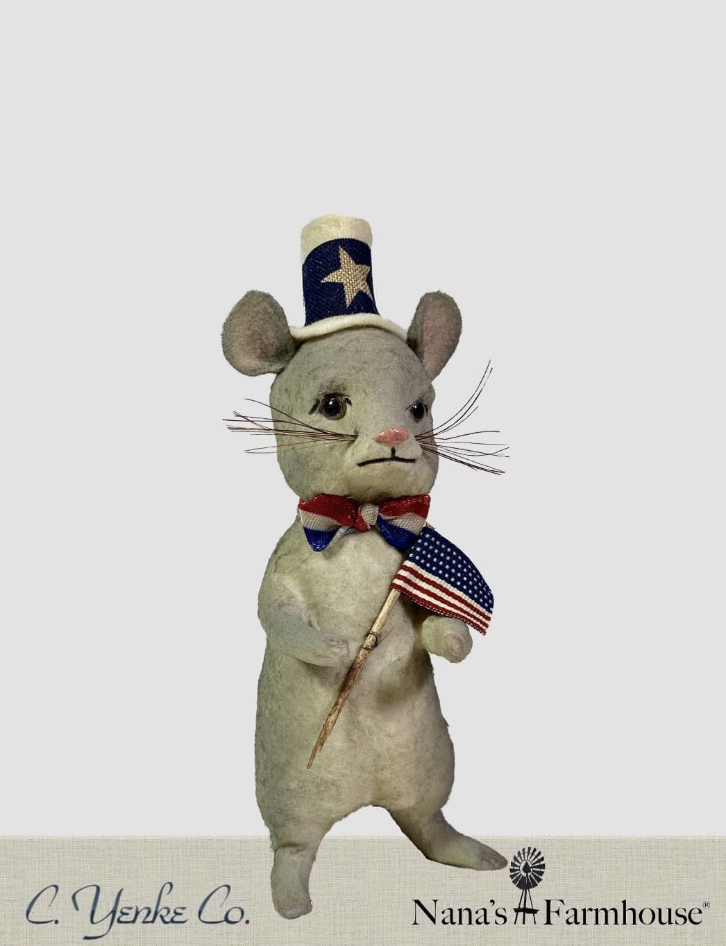 Nana's Farmhouse Patriotic Mouse with Top Hat and Flag - Gray