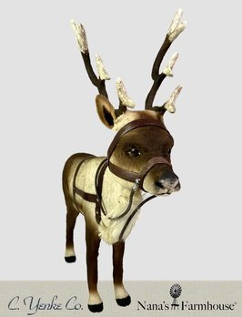 """C Yenke Co Reindeer, Antlers, w/Leather Harness Standing 11.5"""" T x 11"""" L"""