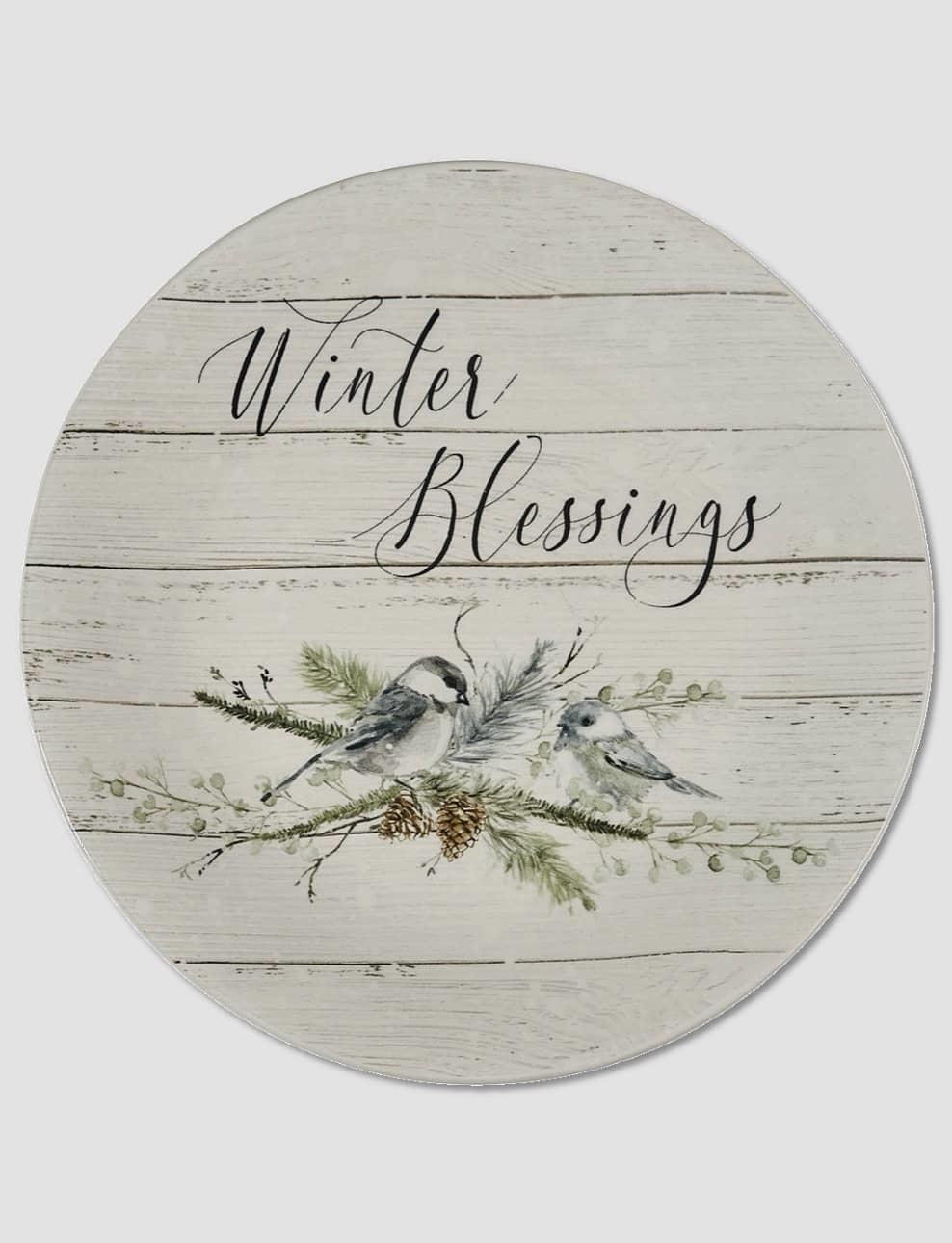 "Nana's Farmhouse Winter Blessings Salad Plate - 8.75"""