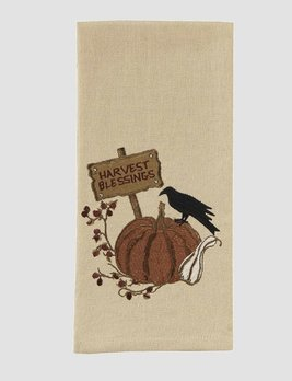 Nana's Farmhouse Crow Pumpkin Embroidered Dishtowel