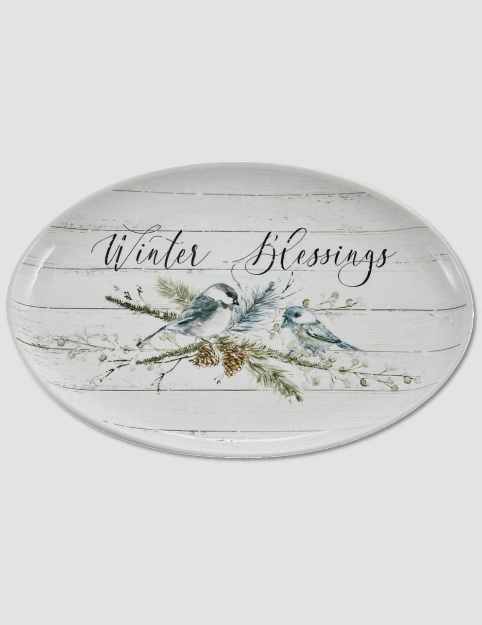 "Park Designs Winter Blessings Oval Platter - 13"" W"