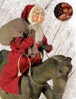 Nana's Farmhouse Primitive Santa Riding Horse with Toy Bag