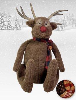 Nana's Farmhouse Reindeer with Checked Scarf