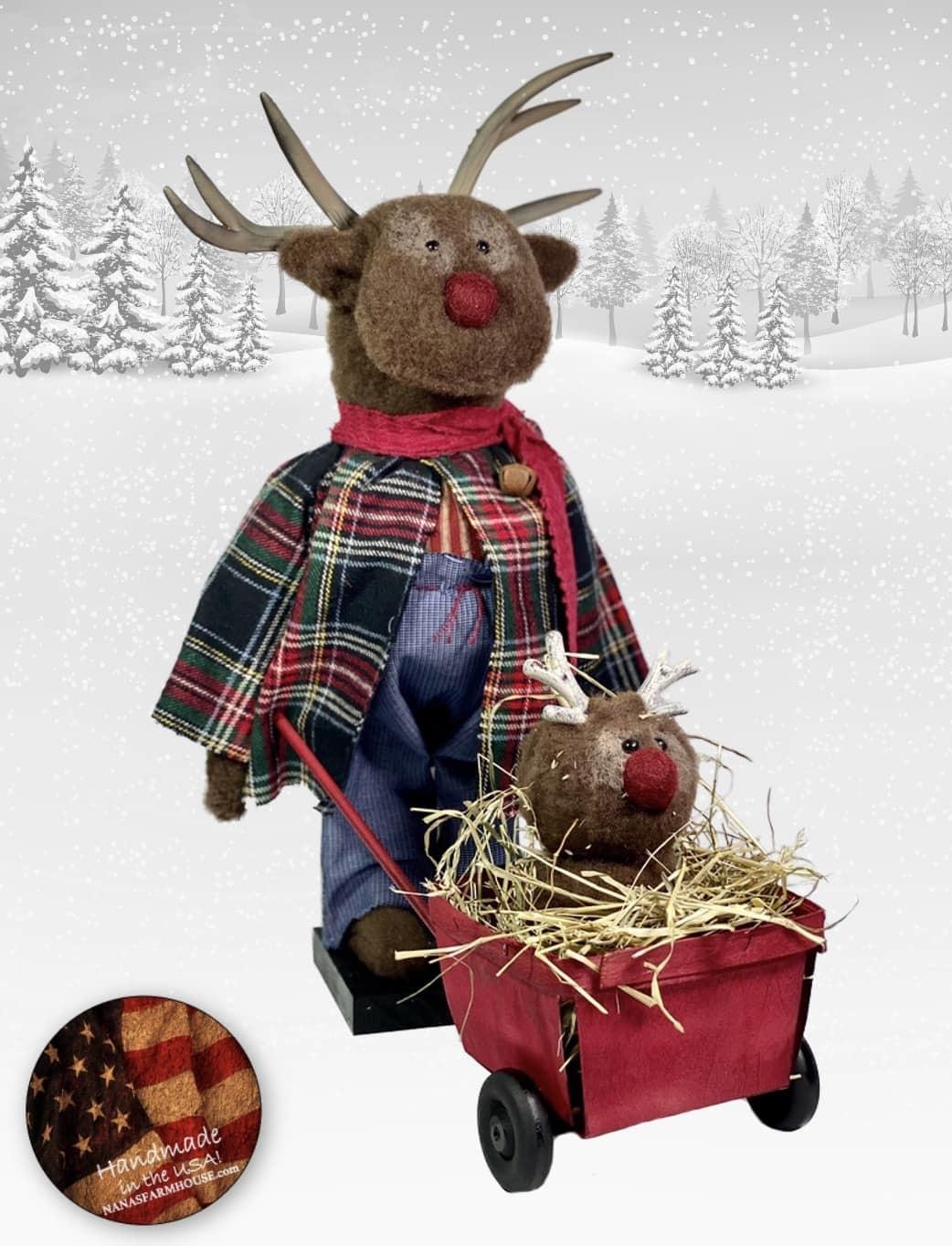 "Nana's Farmhouse Reindeer with Baby Reindeer in Wheelbarrow - 16"" T (w/b 12"" L)"