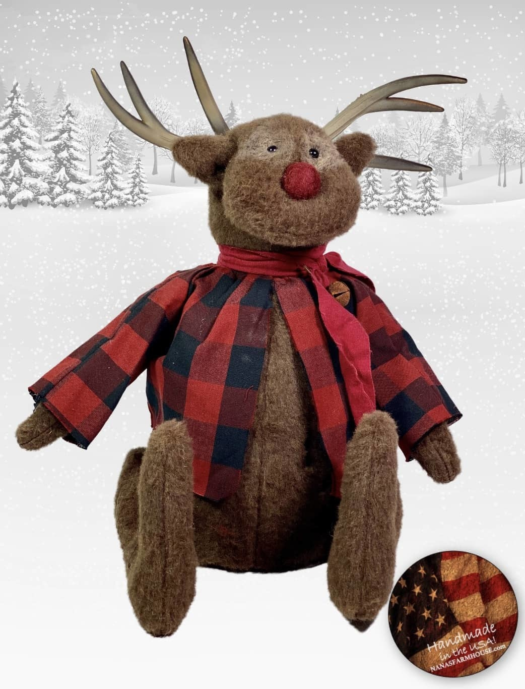"""Nana's Farmhouse Reindeer in Red & Black Checked Jacket - 15"""" T x 10"""" D x 11"""" W"""