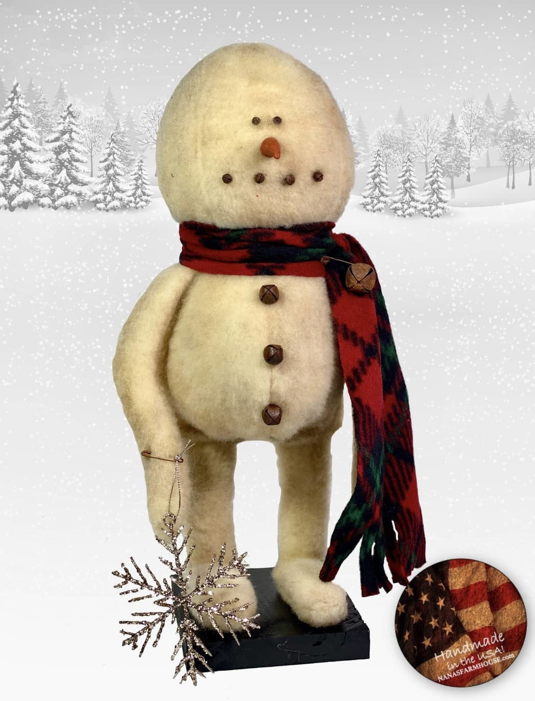 """Nana's Farmhouse Snowman in Red Plaid Scarf with Snowflake - 16"""" T"""
