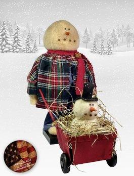 Nana's Farmhouse Snowman with Baby Snowman in Wheelbarrow