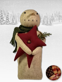 Nana's Farmhouse Snowman with Red Star