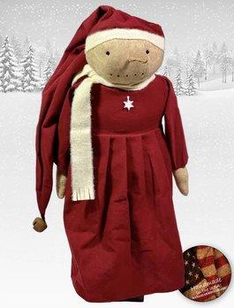 Nana's Farmhouse Snow Girl in Red Dress & Long Stocking Cap