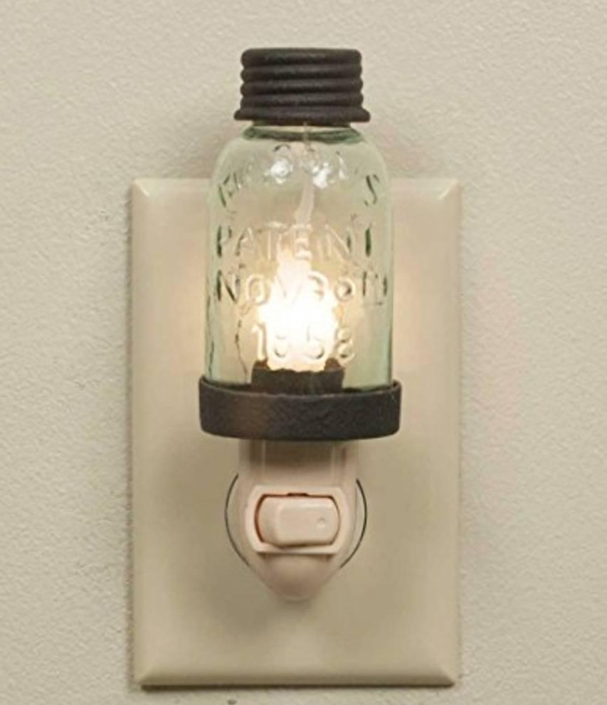CTW Home Collection Mason Jar Night Light Rustic Brown