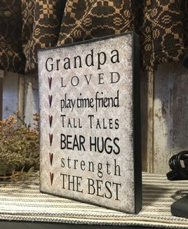 Nanas Farmhouse Grandpa Block Sign