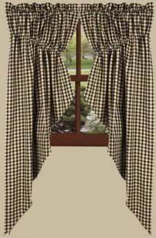 Home Collections By Raghu Heritage House Black Check Gathered Swag