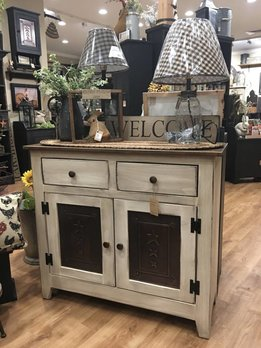 Farmhouse White & Punched Tin Cabinet