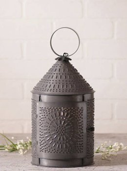 "Irvin's Tinware 15"" Fireside Lantern in Blackened Tin"