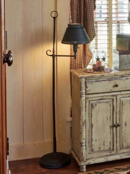 Antique Iron Floor Lamp with Black Shade