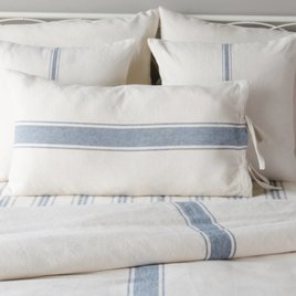 Home Collections By Raghu Grain Sack Stripe Lumbar Pillow Cover Colonial Blue & Cream