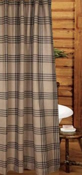 Home Collections By Raghu Chesterfield Check Black Shower Curtain