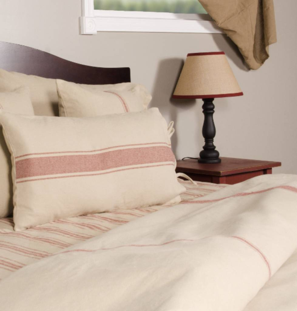 Home Collections By Raghu Home Collections by Raghu Grain Sack Stripe Duvet Cover Oat & Barn Red