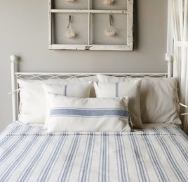 Home Collections By Raghu Grain Sack Stripe Queen Bed Cover Colonial Blue & Cream