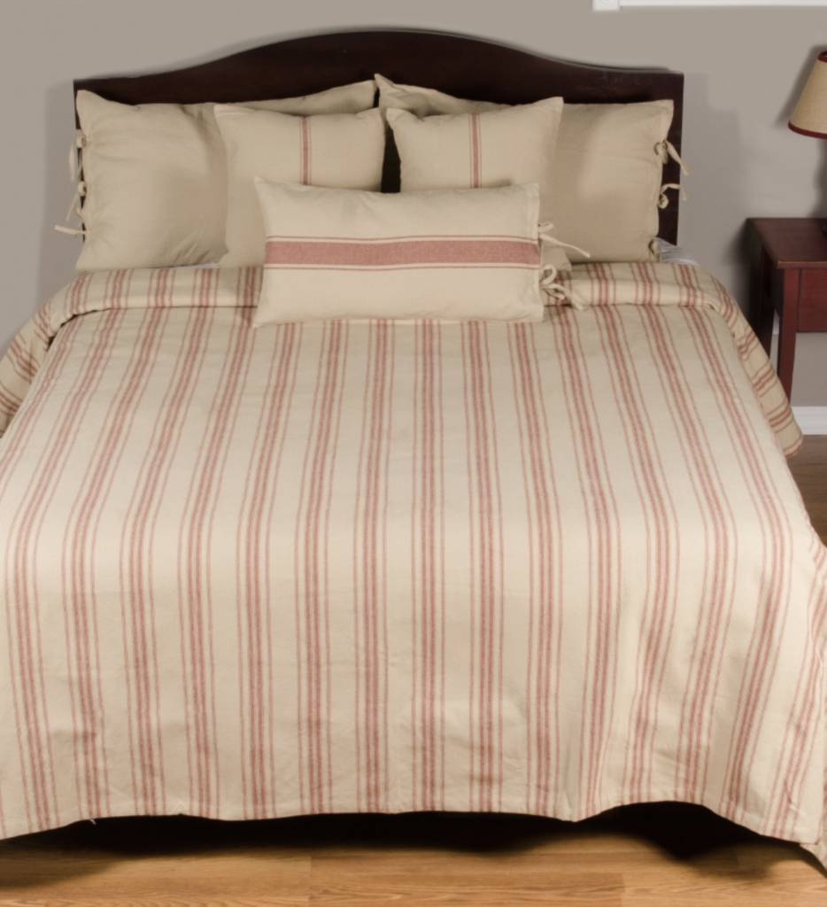 Home Collections By Raghu Grain Sack Stripe Queen Bed Cover Oatmeal & Barn Red
