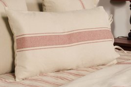 Home Collections By Raghu Grain Sack Stripe Lumbar Pillow Cover Oat & Barn Red