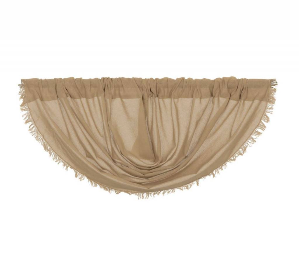 VHC Brands Tobacco Cloth Balloon Valance Fringed