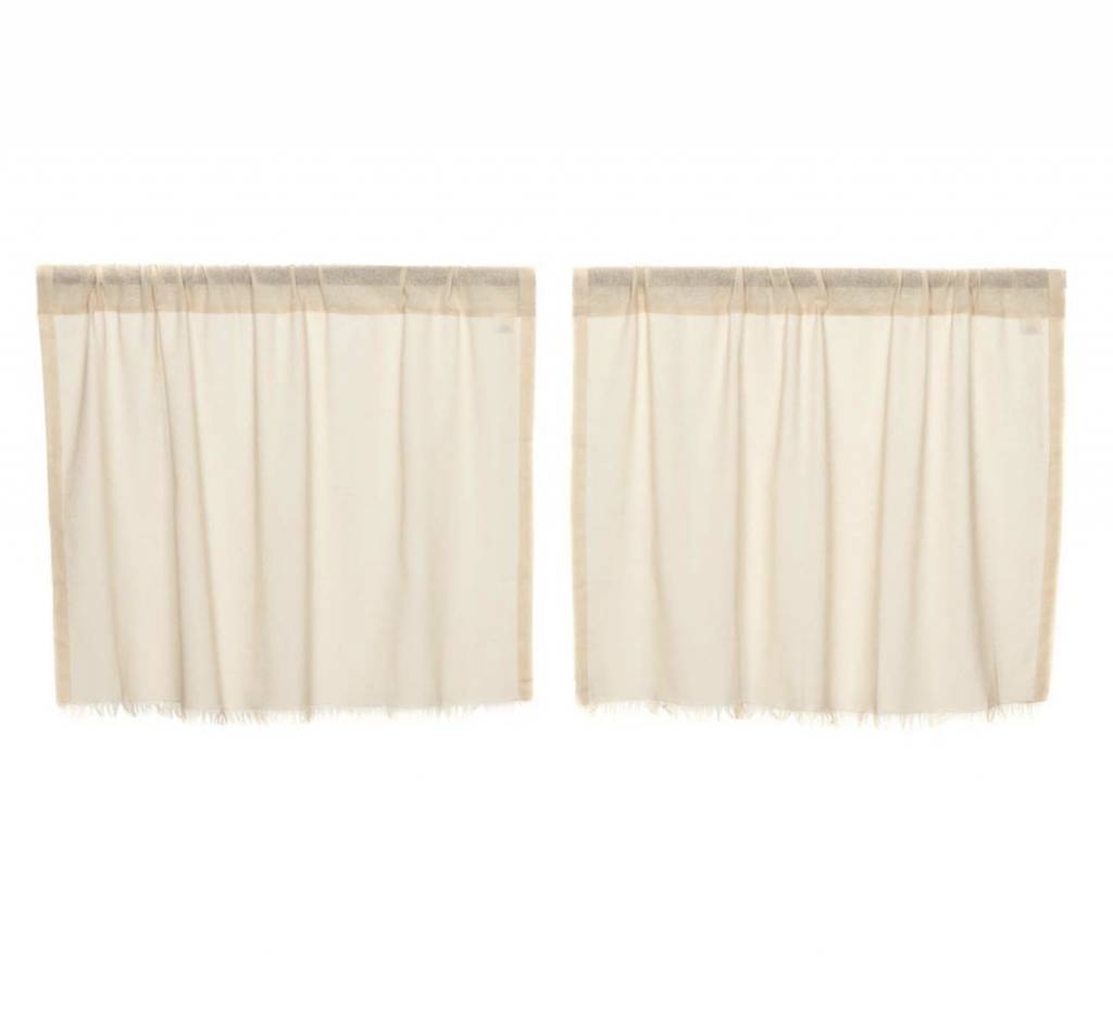 VHC Brands Tobacco Cloth Tier Fringed Set of 2