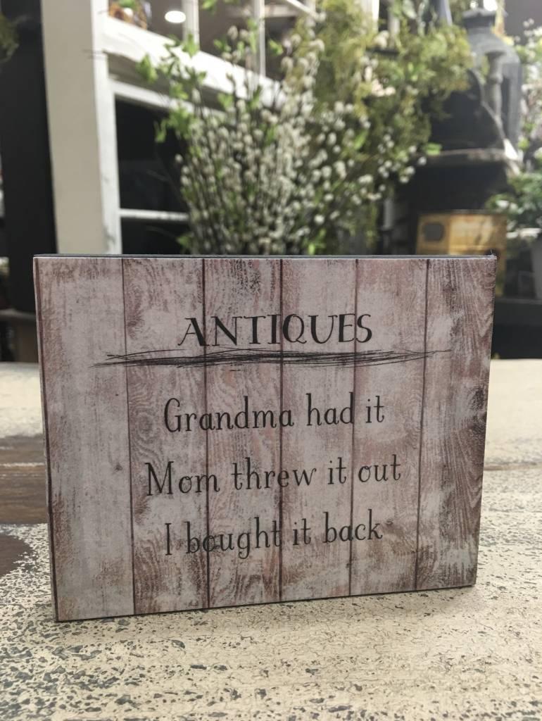 Antiques Block Sign
