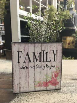 Family - Where Our Story Begins Block Sign