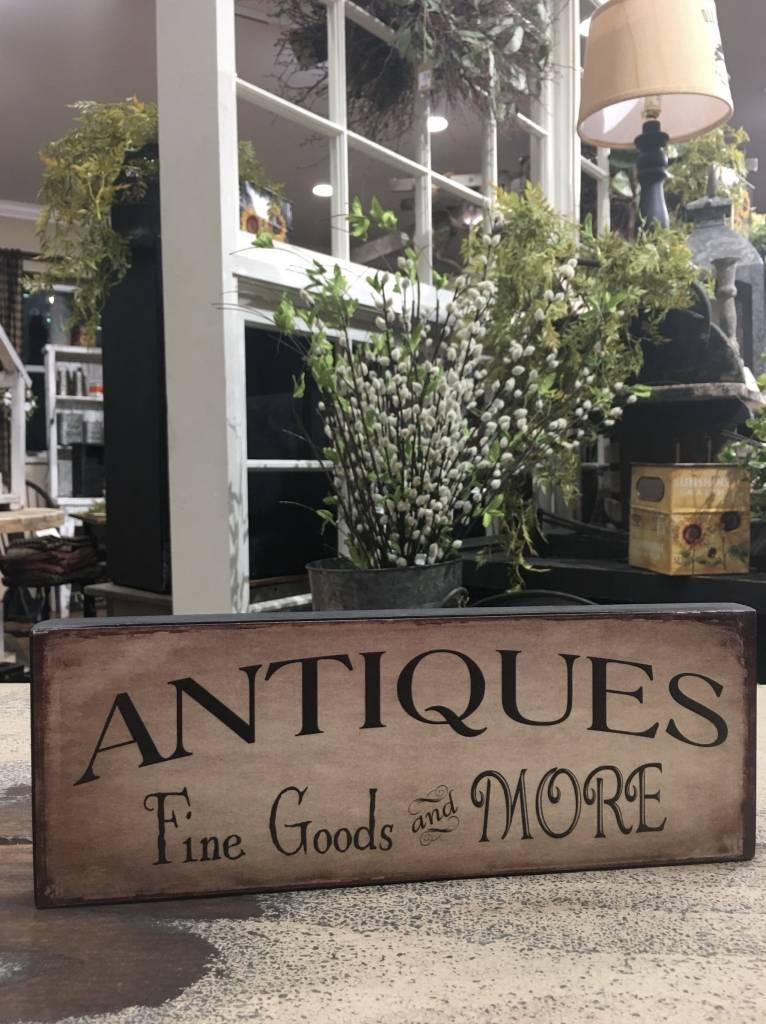 Antiques Fine Goods & More Block Sign