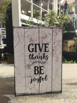 Give Thanks Be Joyful Block Sign