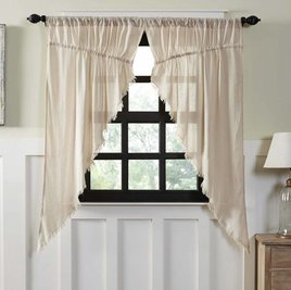VHC Brands Tobacco Cloth Prairie Curtain Fringed -  Set of 2