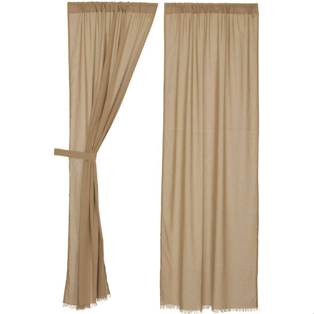 VHC Brands Tobacco Cloth Panel Fringed Set of 2