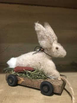 Nanas Farmhouse Primitive Wooden Pull Toy Rabbit On Cart - Small