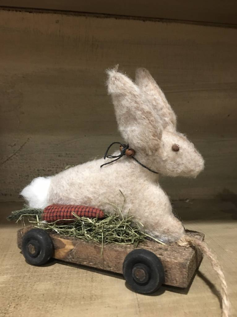 Nana's Farmhouse Wooden Pull Toy Rabbit On Cart - Small