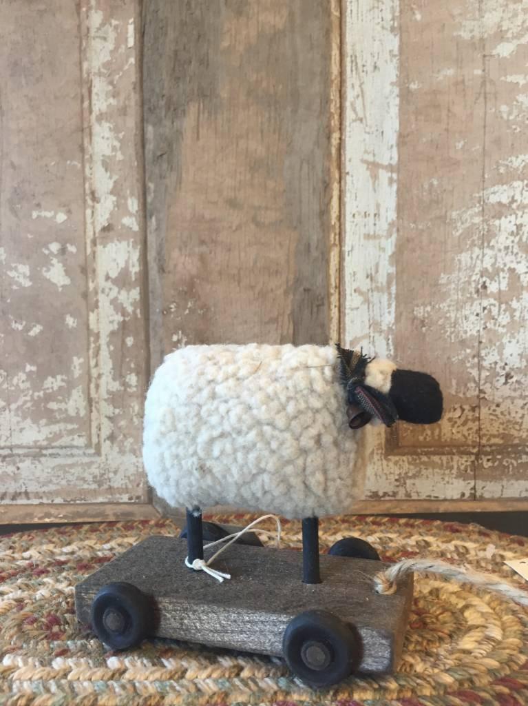 Nana's Farmhouse Primitive Sheep On Cart Pull Toy