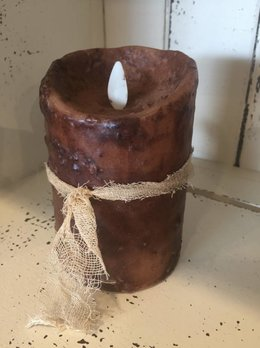 Hand Dipped Primtive Brown Timer Pillar Candle