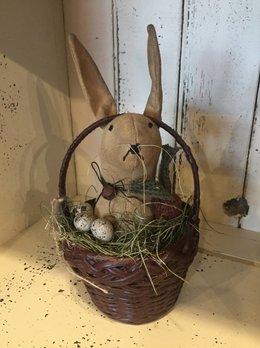 Nanas Farmhouse Primitive Handmade Rabbit In Basket
