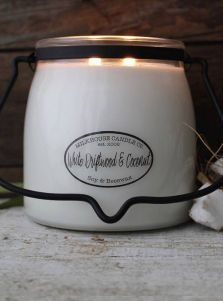 Milkhouse Candles Milkhouse Candles White Driftwood Coconut 16oz Butter Jar