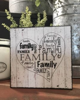 Nana's Farmhouse A Heart Filled With Family Block Sign