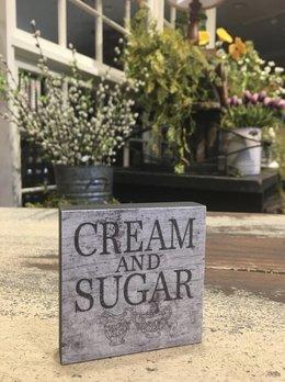 Nana's Farmhouse Cream And Sugar Block Sign