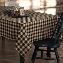 VHC Brands Burlap Black Check Table Cloth