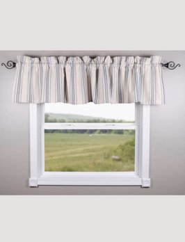 Home Collections By Raghu Grain Sack Stripe Lined Cream & Colonial Blue Valance