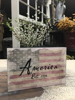Nana's Farmhouse America Est. 1776 Block Sign