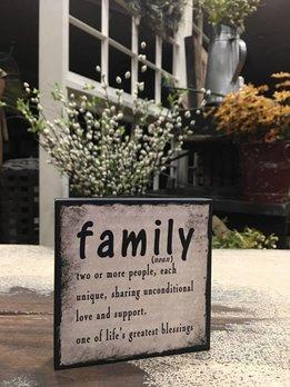 Family - A Noun Block Sign
