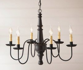Irvin's Tinware Harrison Wood Chandelier in Americana
