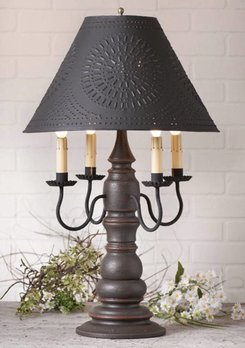 Irvin's Tinware Bradford Lamp with Textured Black Shade